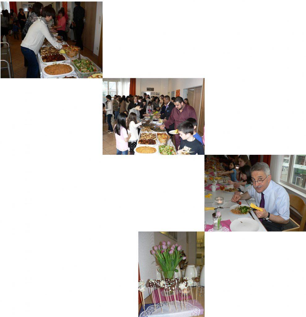 4xBilder Gästegottesdienst beim Essen